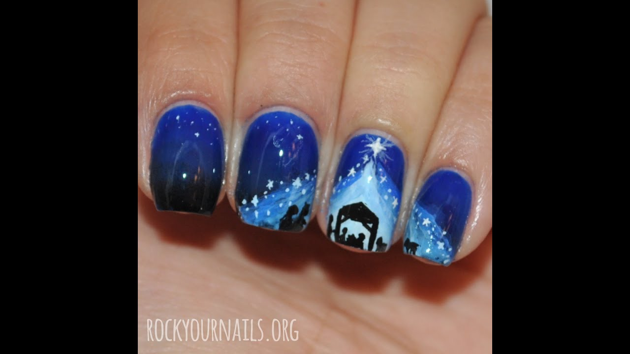 Easy Nail Art | Silent Night | Nativity Silhouette Nail art - YouTube