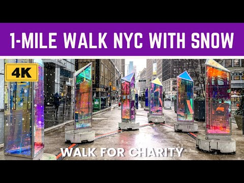 [4K] 1-Mile SNOW WALK // Explore NYC BLOCK-BY-BLOCK // Walk for Charity