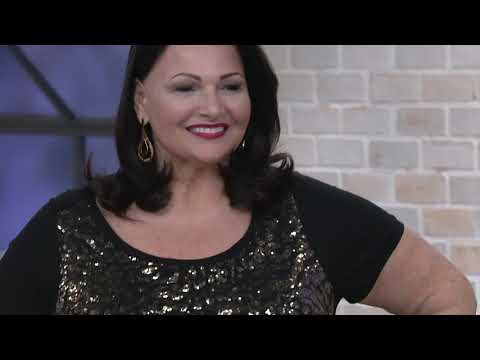 Bob Mackie's Short-Sleeve Sequin Front Knit Top on QVC