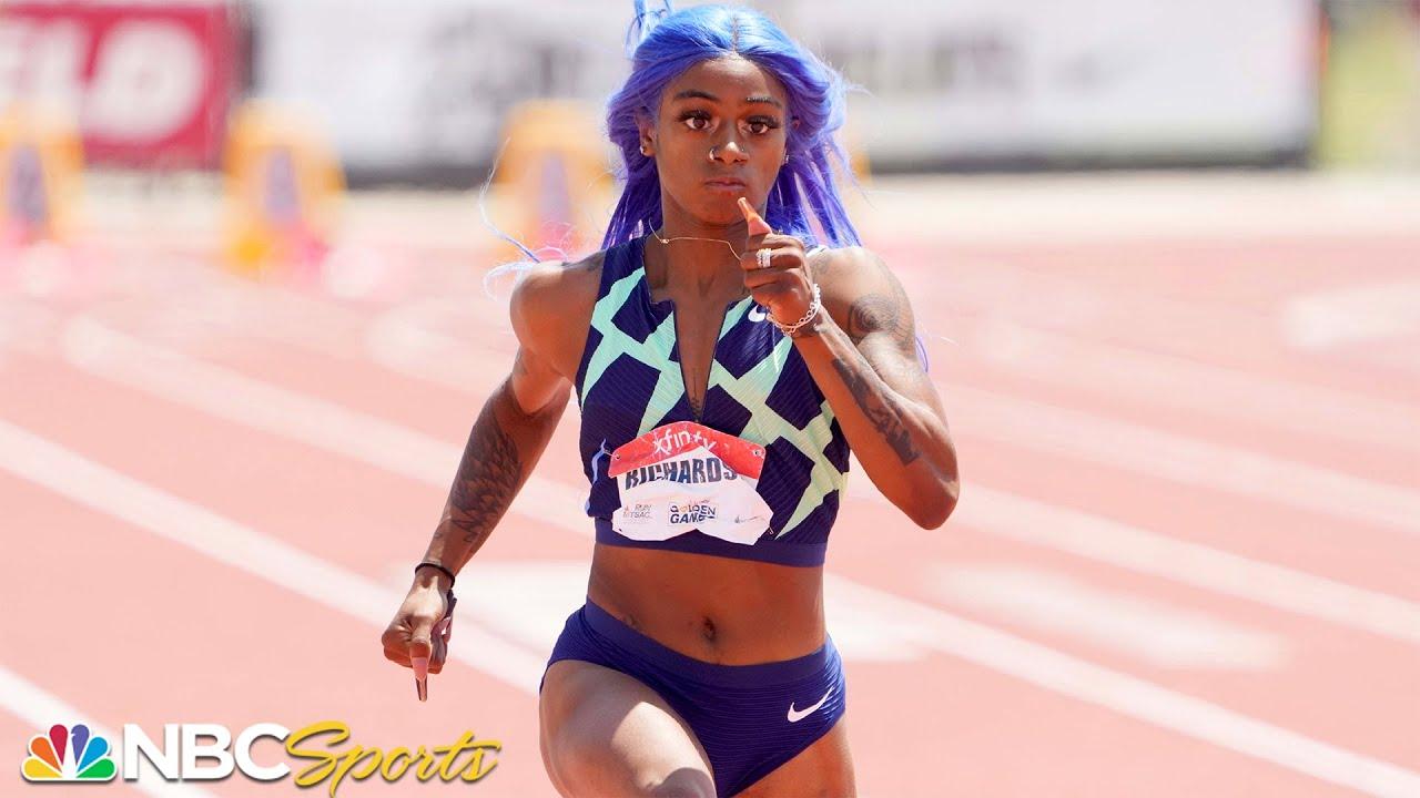 Sha'Carri Richardson celebrates after winning the fourth heat of the ...