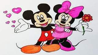 How To Draw Mickey Mouse And Minnie Mouse.Step by step(easy draw)