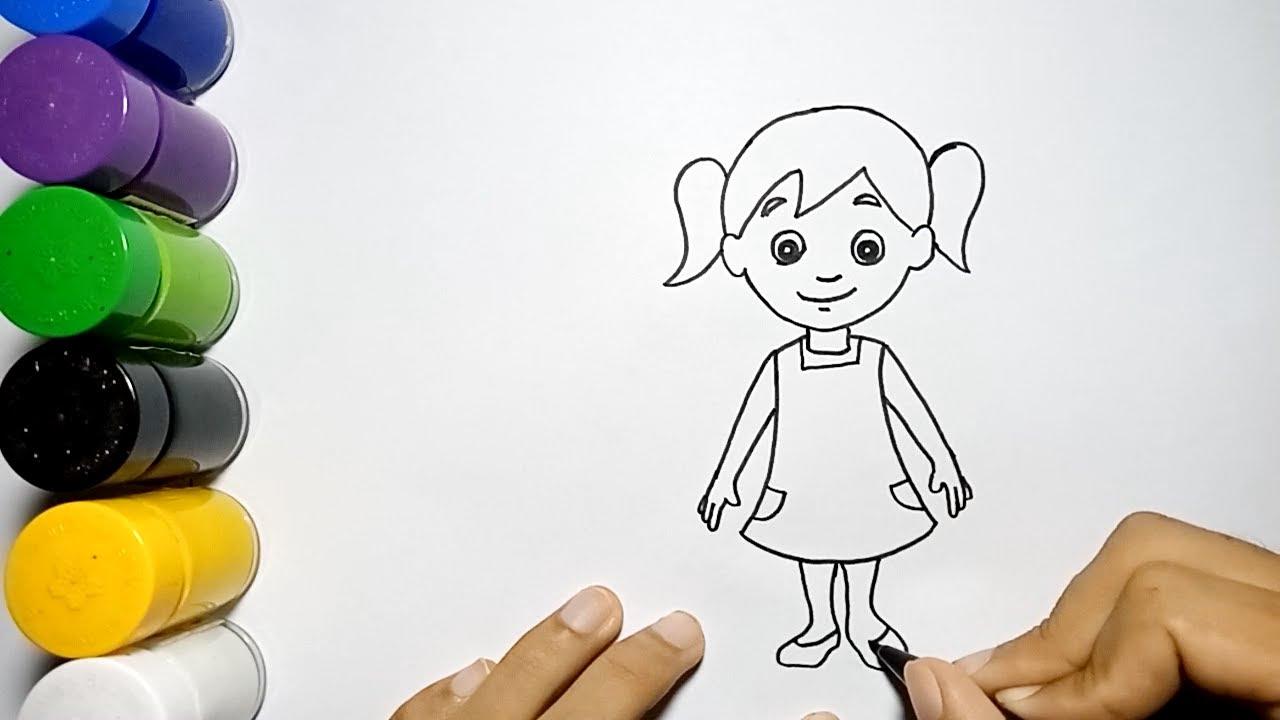 Cara Mudah Menggambar Orang Perempuan How To Draw A Girl Very Easy Youtube