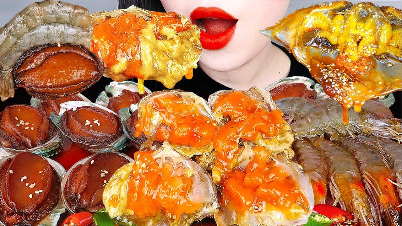 ASMR SOY SAUCE RAW CRAB, SHRIMP 직접만든 전복장, 간장게장, 새우장, 김부각 먹방&요리레시피  KOREAN POPULAR FOOD EATING SOUNDS