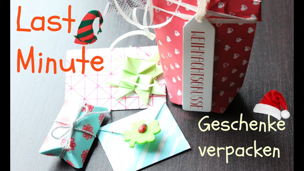 last minute geschenke einpacken diy gift wrap xmas youtube. Black Bedroom Furniture Sets. Home Design Ideas