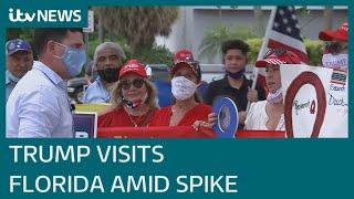 Donald Trump visits Florida to win voters despite coronavirus spike | ITV News
