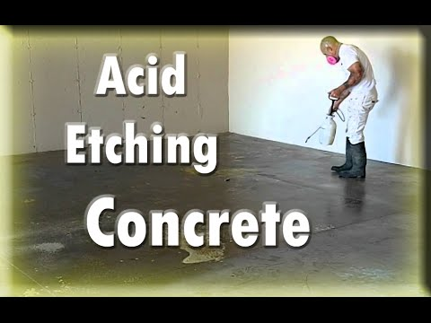Instructions  Tutorials Preparing Concrete For Epoxy Acid Etching Hacks  YouTube