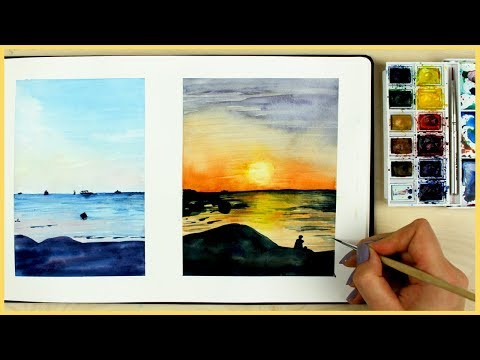 How to Paint a Sunset with Watercolors for Beginners  Art Journal Thursday Ep. 12