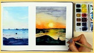 How to Paint a Sunset with Watercolors for Beginners | Art Jou…