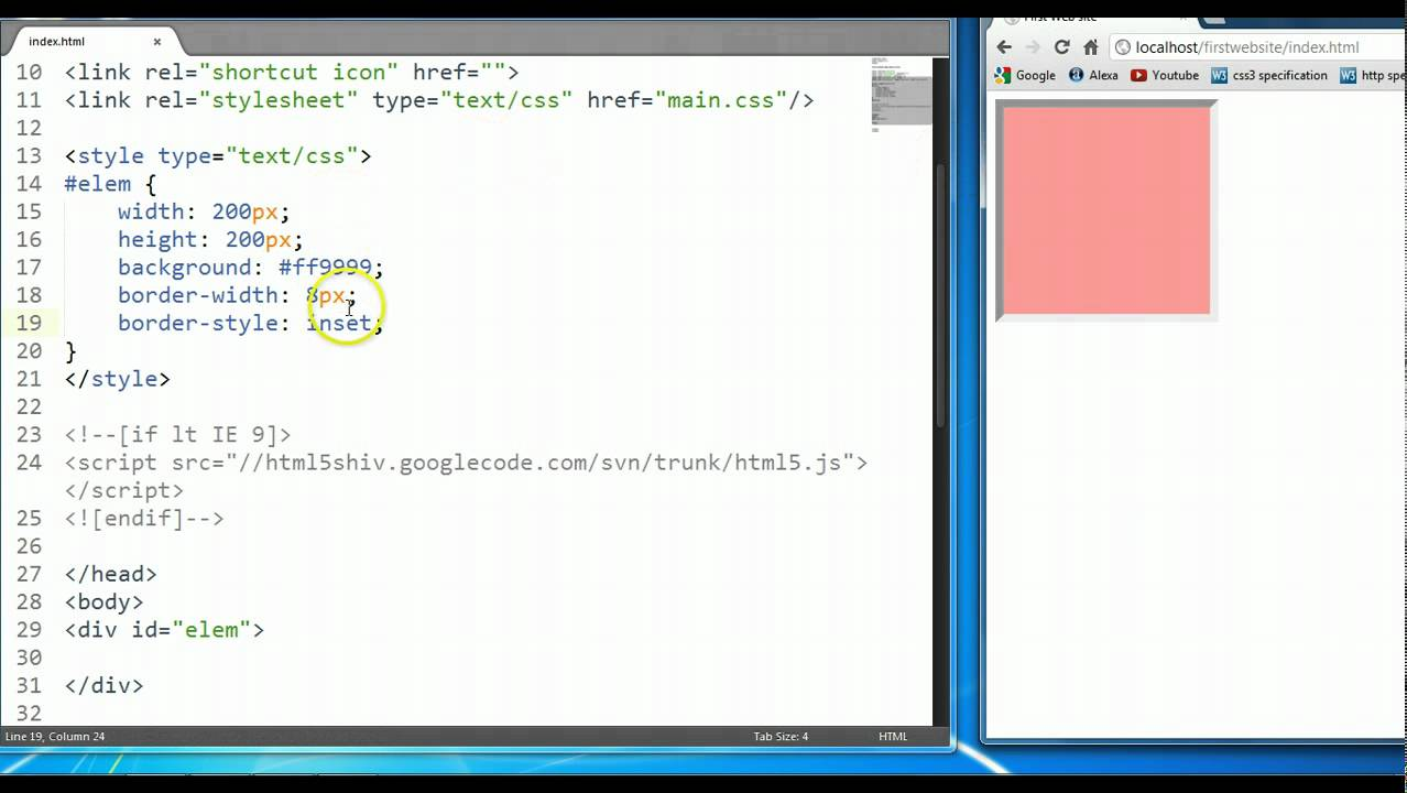 CSS & HTML Tutorial #19: CSS Border Property - YouTube