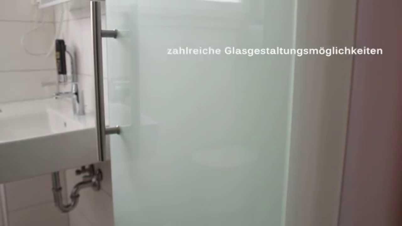 Glastür im Bad mit Glas-Wand-Scharnier und Griffstange - YouTube
