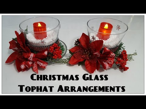 Tricia's Creations: Christmas Glass Tophat Candleholders: Dollar Tree