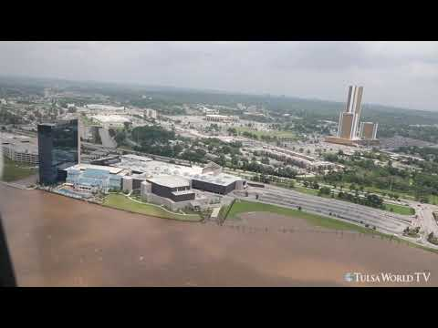 Tulsa flooding: Aerial coverage of Flooding along the Arkansas river and Bird Creek