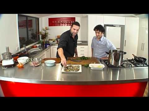 """""""Geoff & the Chef"""" New Zealand seafood recipes – Mussels served in shell , paua and prawn dumplings"""