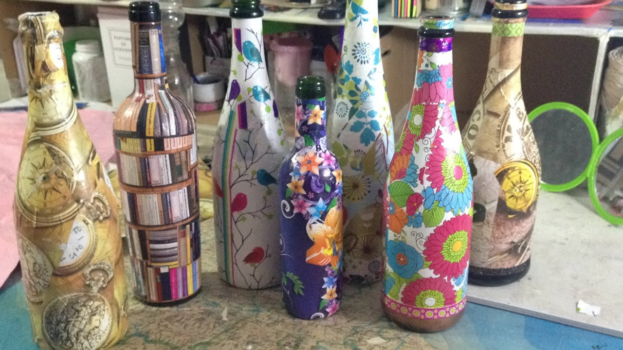 Decorando Las Botellas De Vino Con Papel Youtube - Decorar-botellas