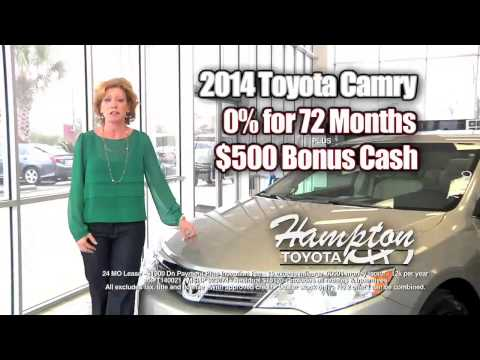 New 2014 Toyota Camry with 0% APR for 72 Months + $500 Bonus Cash or Lease for only $99 per month