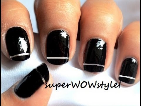 silver stripes  very easy nail art to do at home  youtube