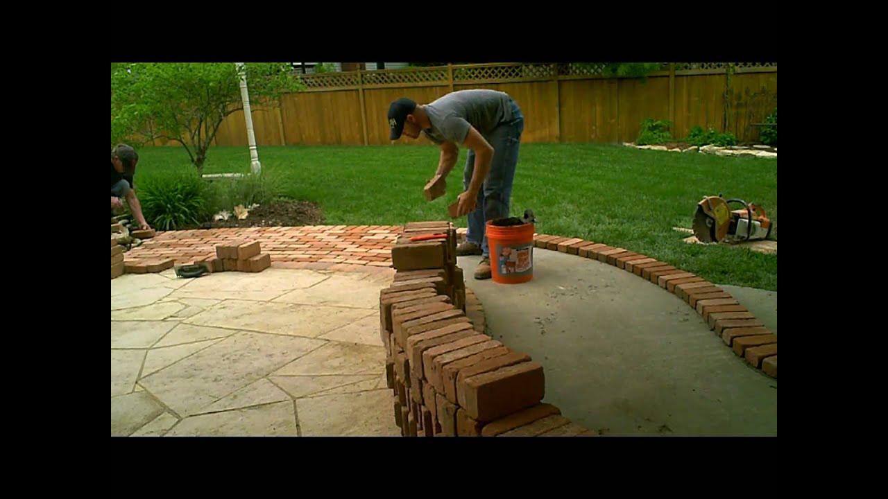 Firerock Fireplace  Flagstone Patio  and addition of brick walkway by Masonry Art LLC  YouTube