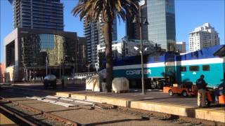 San Diego Trolleys and Coaster Commuters trains June 2014