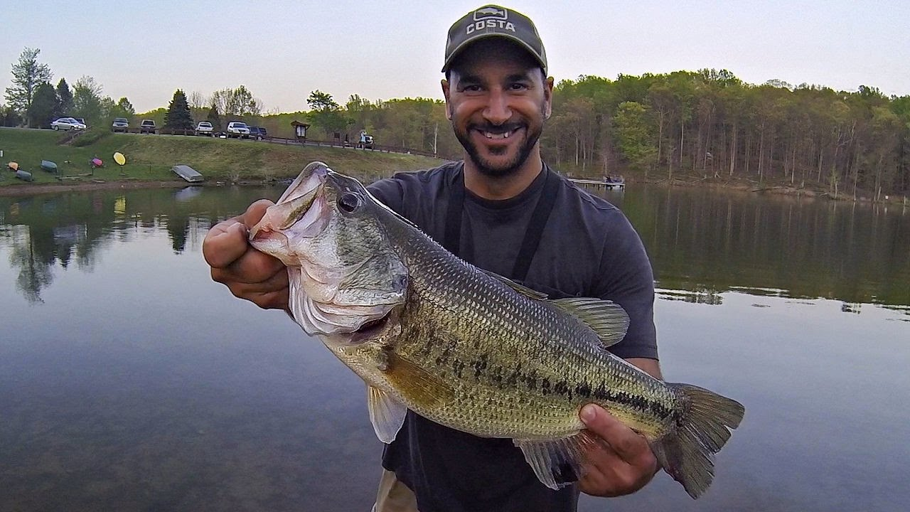 Spring bass fishing from shore drop shot hawg tips for Bass fishing from shore
