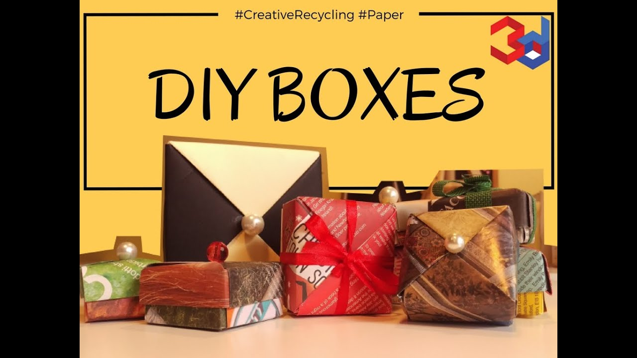 DIY Origami Boxes | paper recycling - YouTube