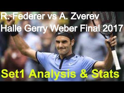 ⏺ R. Federer vs A. Zverev - ATP 500 Halle Gerry Weber Open Final 2017 - Set1 Analysis & Statistics ⏺