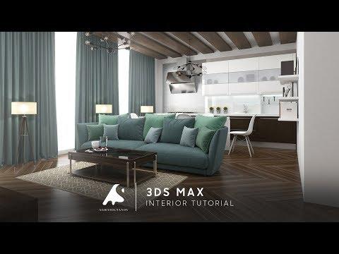 3Ds Max Living Kitchen Interior Tutorials Modeling Design Vray Photoshop