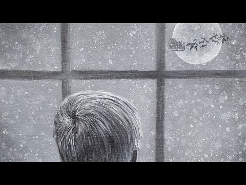 Child at Window Christmas Eve | Santa Moon Acrylic Painting LIVE Tutorial
