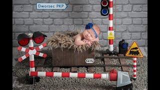 Pociąg - Train   sesja noworodkowa: z serii nasz miniaturowy świat