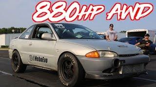 "Sleeper 880HP AWD Mirage ""Hobo Evo"" + 200mph Crash Footage"