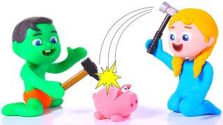FUNNY KIDS USE THEIR SAVINGS  ❤ Play Doh Cartoons For Kids