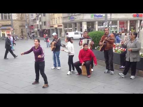 Street Performance in Halle City Centre, Germany in Sep. 2013