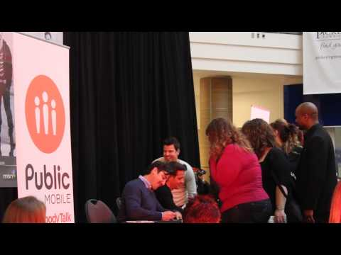 Jordan Knight Entertaining the Crowd at Pickering Town Centre