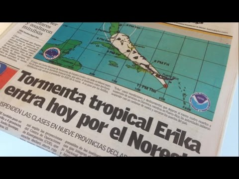 Tropical Storm Erika blowing high winds in Punta Cana, Dominican Republic