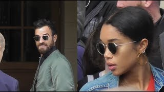 Justin Theroux & Laura Harrier @ Paris 1 october 2018 during the Fashion Week