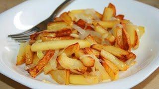 Жареная картошка с курицей в остром соусе