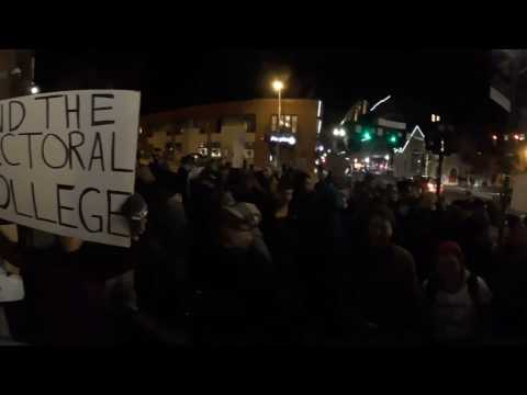 360° video: Post-election rally and march across Ohio University campus and historic uptown Athens
