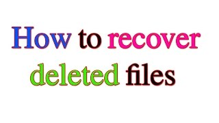 How to Easily Recover Deleted Files | recover deleted files| Recovery software  [Hindi/Urdu]