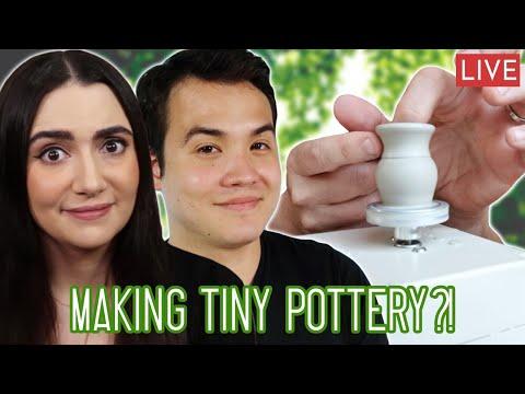 Making Tiny Pottery On A Mini Pottery Wheel