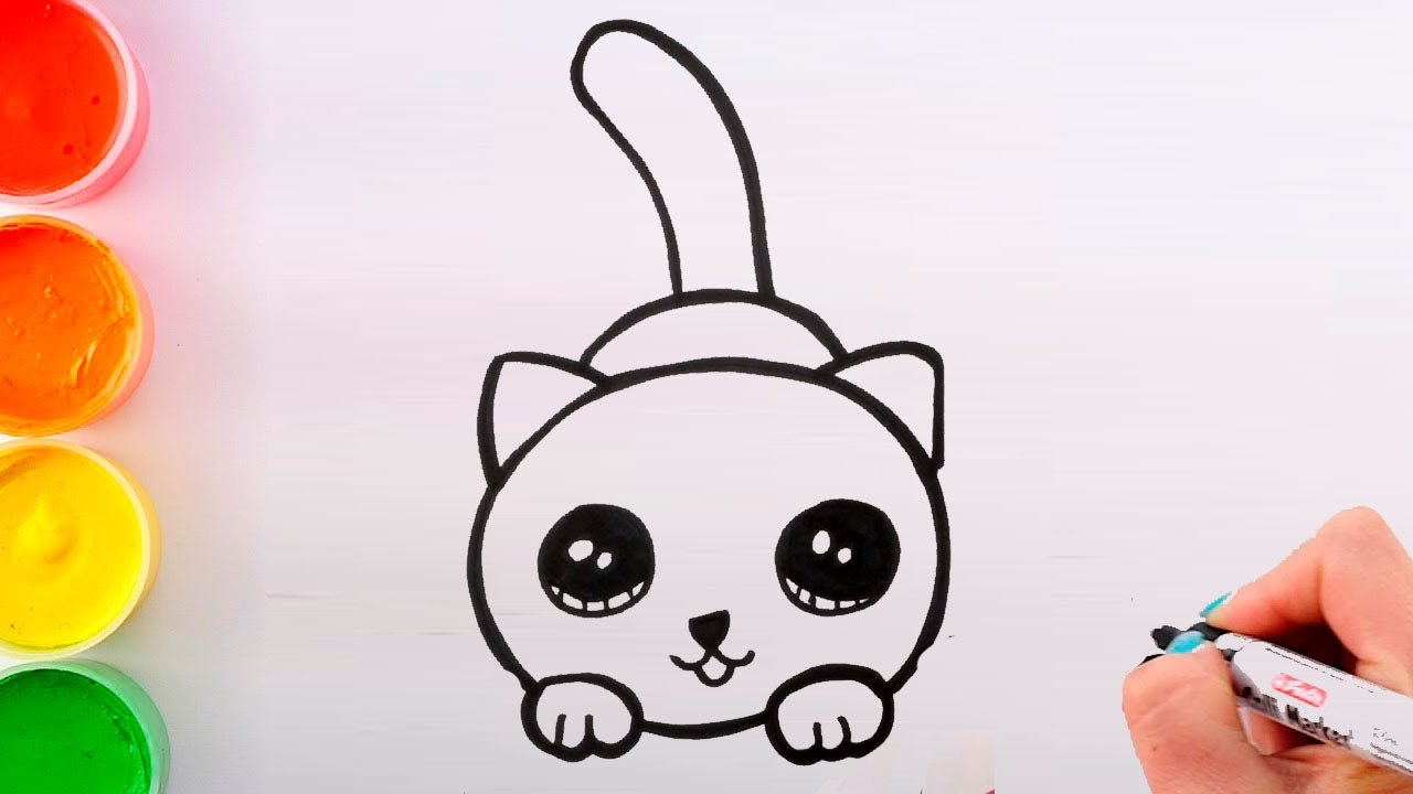 How to draw a CAT for KIDs KAWAII coloring and drawing for ...