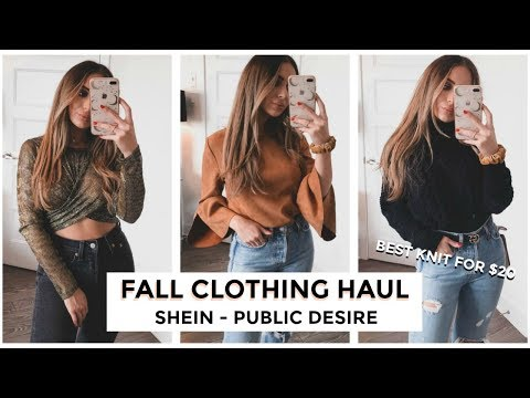 THE BEST KNIT SWEATER FOR ONLY $20!! FALL CLOTHING HAUL - SHEIN + PUBLIC DESIRE | TRY-ON