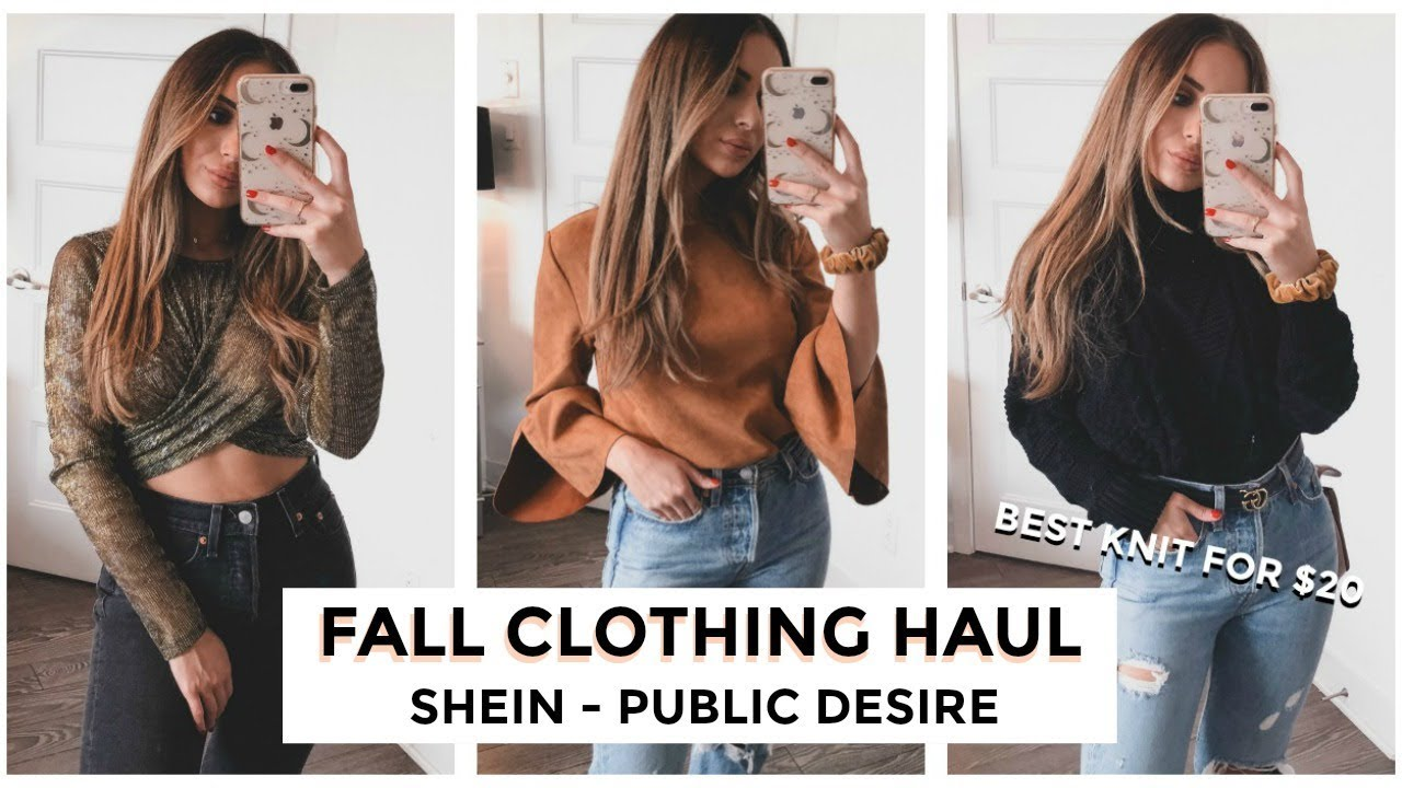 05a1909536 THE BEST KNIT SWEATER FOR ONLY $20!! FALL CLOTHING HAUL - SHEIN + PUBLIC  DESIRE | TRY-ON