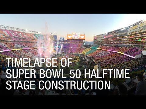 Super Bowl 50 Halftime Show Timelapse of Construction