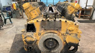 Tear Down of a 17,000 Pound 1800 Horsepower 69 Liter V16 Caterpillar 3516 Diesel Engine