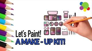 How To Draw Makeup Set For KIDS | Painting for Kids | Coloring Book With Colored Markers