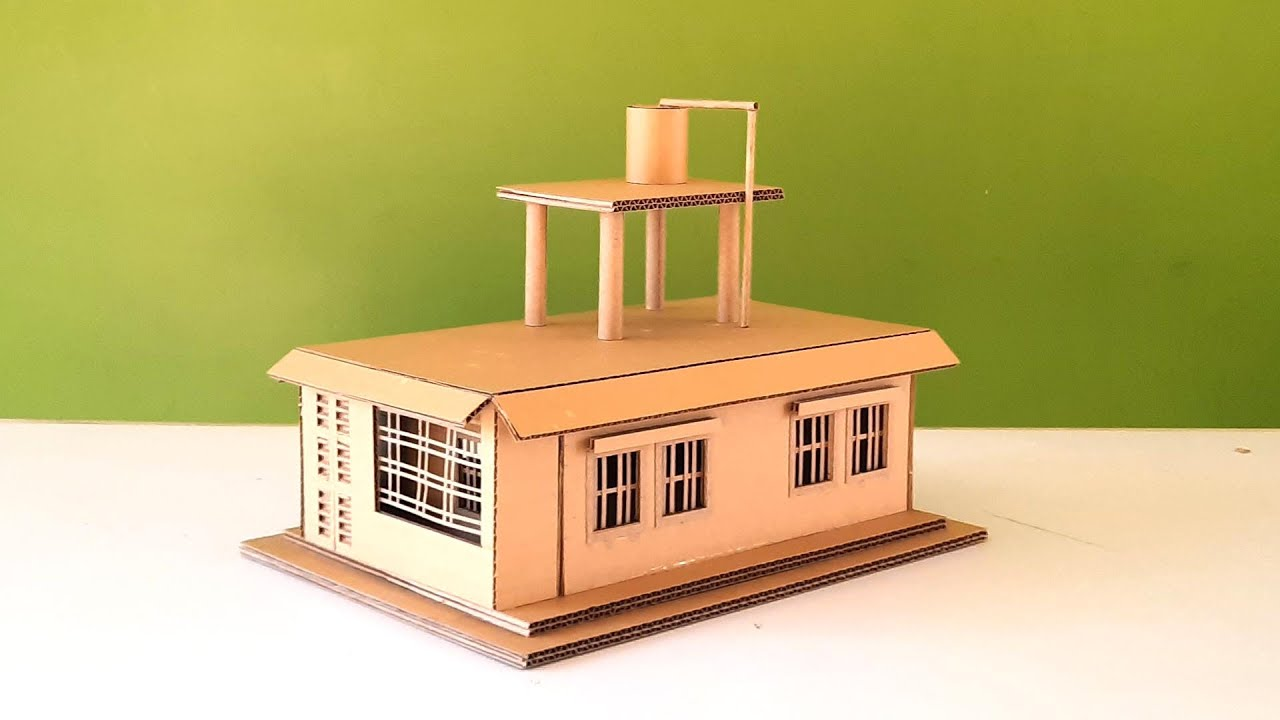 Making a Cardboard House with rooftop water tank - easy house making idea