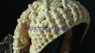Repeat youtube video Gorro Boina Slouchy Adulto Ganchillo, Crochet Slouchy Beret 2 de 2 DIY