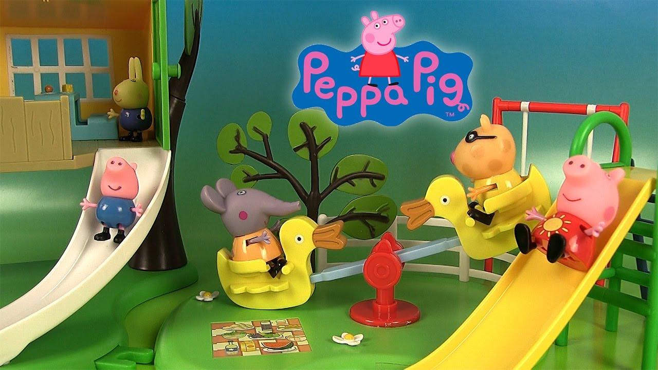 peppa pig jouets aire de jeux toboggan balancoire cabane dans l arbre