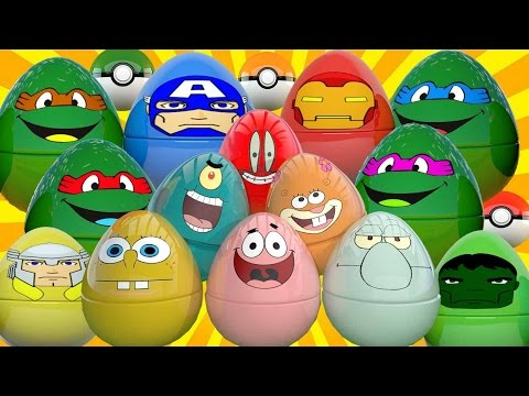 Giant SURPRISE EGGS Superheroes Cartoons and Learning Colors with Surprise Toys Animation For Kids