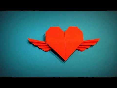 How to Make a Paper Heart with Wings DIY - Easy Origami Step by Step