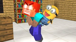MINIONS VS Monster School BRAVE Challenge Minecraft Animation
